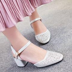 娜箐箐2017夏新款欧美头层牛皮方头镂空粗跟高跟低帮女鞋真皮凉鞋