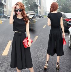 2020新款夏季女装韩版修身气质短袖裙子两件套连衣裙套装阔腿裤女