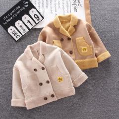 羊羔绒秋冬保暖童装外套 毛绒儿童上衣 纯色欧美潮流新款儿童外套