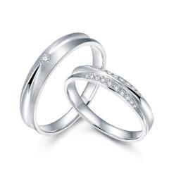 芭法娜 双星银河 18K金情侣钻石戒指 订婚结婚戒指 订制款无现货 工期约20天