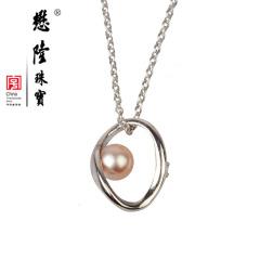 懋隆S925银镀金天然正圆强光无暇淡水珍珠项链颈链礼物正品包邮