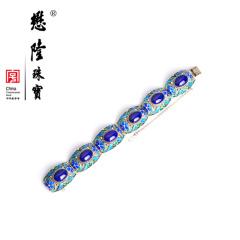 懋隆S925银饰手工花丝镶嵌青金石手链燕京八绝正品礼物包邮
