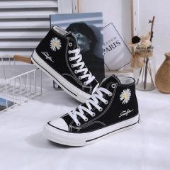 贝贝   2020新款帆布鞋权志龙同款小雏菊鞋子高帮帆布鞋防滑橡胶底女布鞋