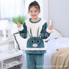 儿童睡衣冬季加绒加厚款中大童家居套装小女孩保暖法兰绒