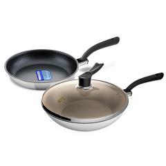 艾特巴赫(ALTENBACH)超轻不锈钢30cm炒锅+经典系列28cm煎锅两件套组 燃气电磁炉通用
