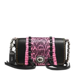 COACH/蔻驰 女士1941系列铬鞣锁缝蛇皮镶边DINKIER包 小号粉红色+黑