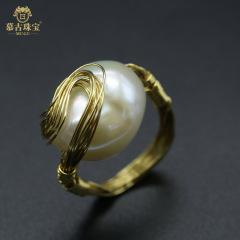慕古 【一带一路外销款】设计款巴洛克珍珠戒指 MUXP2031509