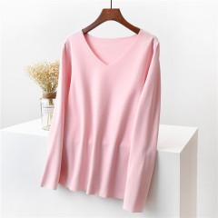 双面德绒发热长袖t恤女装秋冬保暖家居内衣纯色薄绒V领打底衫