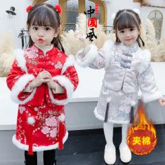 汉服女童冬装连衣裙加绒加厚洋气小童公主裙中国风儿童拜年服套装