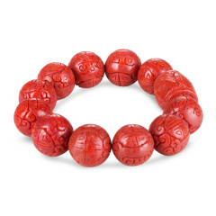 俏丽红珊瑚龙珠精品手串 货号123336