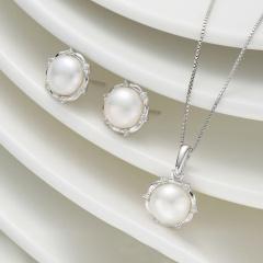DODOBEL WOMAN 韩版时尚珍珠花边耳钉吊坠两件套