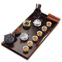 财源滚滚雪花釉荷韵 檀木实木茶盘陶瓷茶具套组
