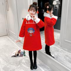 女童旗袍裙新年拜年服秋冬装新款儿童中国风唐装女孩过年衣服童装