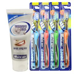 韩国原装进口唯齿康3d牙刷四只+双重亮白牙膏120G