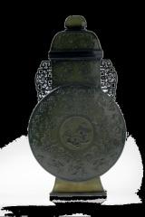 痕都斯坦工艺、古法再现、薄胎、手工雕刻《百福和合二仙月亮瓶》