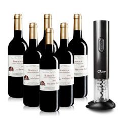 法国红酒巴菲太太波尔多干红葡萄酒六支赠启尔电动开瓶器