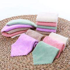 斜月三星高密珊瑚绒方巾 擦手巾 洗碗巾多功能小毛巾 25*25cm*5条装