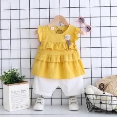 菲儿小屋韩版夏季新品女童宝宝公主套装上衣短袖+短裤可开档
