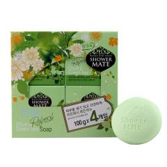 韩国原装进口爱敬橄榄绿茶香皂4盒装