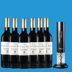 法国原装进口巴图太太波尔多干红葡萄酒六支加赠电动开瓶器套装