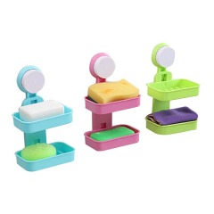 创意吸盘式双层免打孔肥皂盒