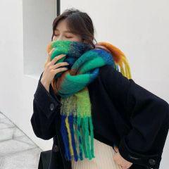马海毛撞色大格子围巾女冬季超大百搭披肩潮围脖