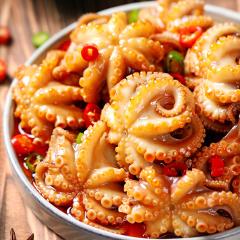 采小海 网红麻辣爆头八爪鱼海鲜熟食即食230g罐装迷你小章鱼足鱿鱼须买一送一