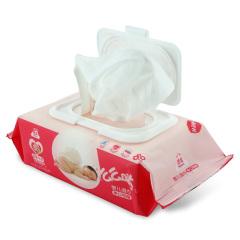 洁云 么么哒婴儿手口湿巾宝宝湿纸巾新生儿擦屁屁-80抽(牡丹纯露)整箱装(12包装)