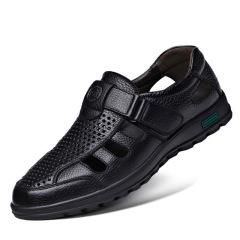 真皮凉鞋男新款夏季老人男鞋休闲男士透气镂空洞洞中老年爸爸凉鞋