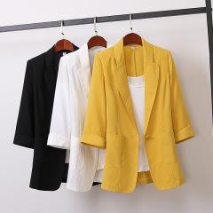 小西服女2021韩版棉麻中长款大码西装外套韩版宽松休闲时尚女装M10