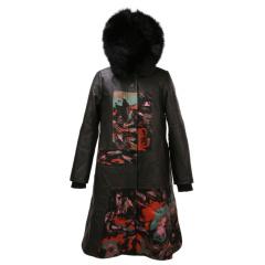 阿伦达女士时尚印花皮羽绒