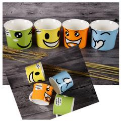 IJARL 亿嘉新品简约创意陶瓷笑脸杯时尚咖啡杯卡通个性四个彩色水杯套装