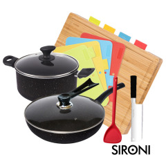 SIRONI-意大利麦饭石32CM单底炒锅+麦饭石24CM汤锅+多功能菜板