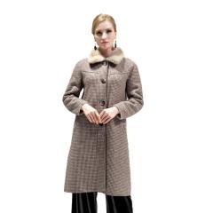 欧芭妃千鸟格双面穿羊毛大衣