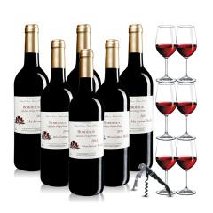 法国红酒巴菲太太波尔多干红葡萄酒六支加赠红酒杯开瓶器套组