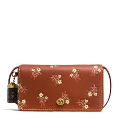 COACH/蔻驰1941 DINKY 女士花朵印花真皮翻盖单肩斜挎小包 粉色花朵