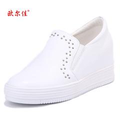 欧尔佳牛皮悠闲内增高小黑鞋小白鞋J7015-5