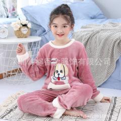 韩语绮   儿童睡衣冬季加绒加厚款中大童家居套装小女孩保暖法兰绒