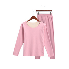 冬季女士新款37度发热薄款打底双面双色磨毛绒无痕保暖内衣套装