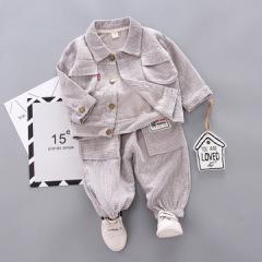 灯芯绒翻领夹克三件套 帅气宝宝套装 男女通用款秋装儿童套装