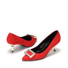 达芙妮舒适浅口性感方扣水钻低跟单鞋1017101005