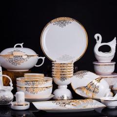 景德镇原产地56头韩式金冠骨瓷套装餐具 家庭宴客自用