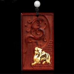 琳福珠宝  小叶紫檀镶嵌足金貔貅项坠 吊坠饰品
