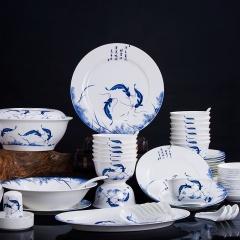 景德镇56头青花瓷年年有余餐具套装骨瓷碗碟套装家用中式高档乔迁