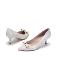 达芙妮优雅尖头蝴蝶结舒适羊皮高跟鞋1017101061