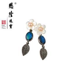 懋隆S925银饰手工设计贝壳螺钿花朵珍珠欧泊耳钉耳坠女款包邮