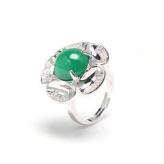 熙尊花开富贵绿玛瑙戒指