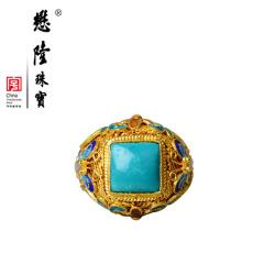懋隆珠宝S925银饰手工花丝烧蓝镶嵌绿松石戒指女款复古包邮