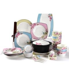 Ijarl亿嘉陶瓷时尚创意骨瓷餐具碗盘筷子个性贵族风套装月贵纷菲56件套方形套装