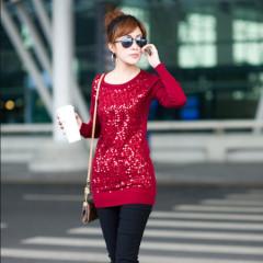 瑅艾女士亮片红色针织衫 DK04963